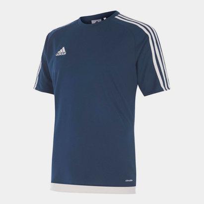 adidas Sereno, 3 Bande, T-shirt pour hommes en Bleu foncé et blanc