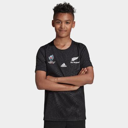 adidas Maillot de Rugby pour ado, coupe du monde domicile 2019, All Black de Nouvelle Zélande