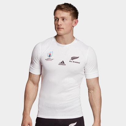 adidas Maillot de Rugby extérieur, coupe du monde domicile 2019, All Black de Nouvelle Zélande