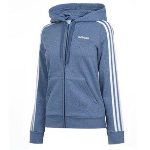 adidas Essential 3 bandes, Sweatshirt bleu à capuche et zip pour femmes