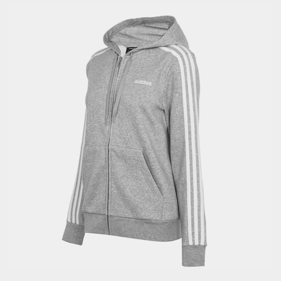 adidas Essential 3 bandes, Sweatshirt gris à capuche et zip pour femmes