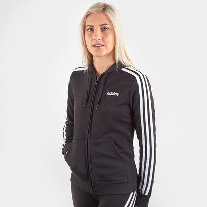 adidas Essential 3 bandes, Sweatshirt noir à capuche et zip pour femmes