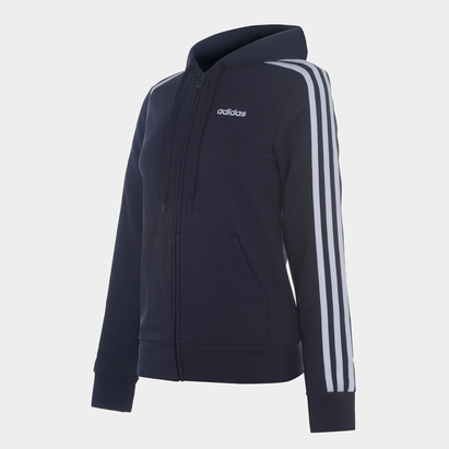 adidas Essential 3 bandes, Sweatshirt bleu foncé à capuche et zip pour femmes