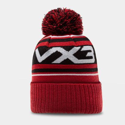 Bonnet à pompon VX3 en rouge noir et blanc
