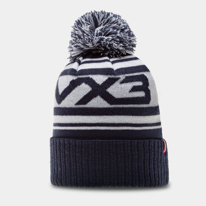 Bonnet à pompon VX3 en bleu et blanc