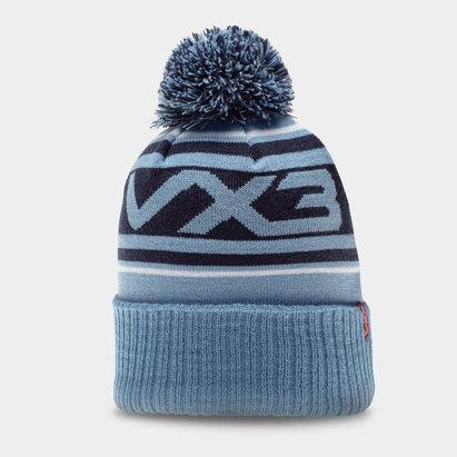 Bonnet bleu et blanc avec pompon VX3