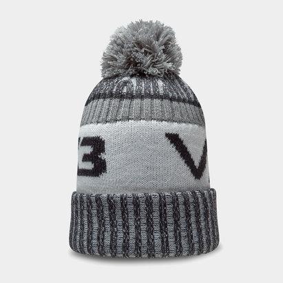 Bonnet à pompon VX3 en noir et gris