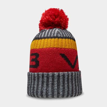 Bonnet à pompon VX3 en noir et rouge