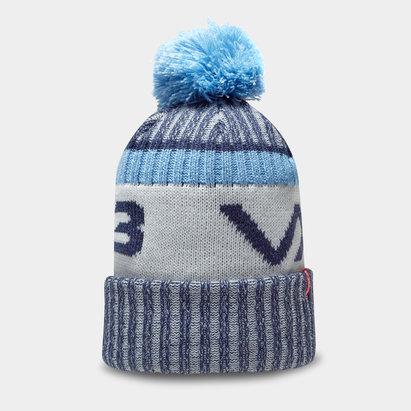 Bonnet à pompon VX3 en bleu marin et bleu ciel