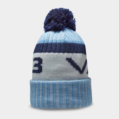 Bonnet à pompon VX3 en bleu ciel et bleu marin