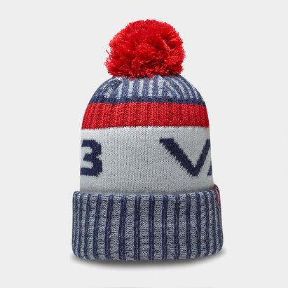 Bonnet à pompon VX3 en bleu marin et rouge