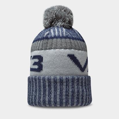 Bonnet à pompon VX3 en bleu marin et gris