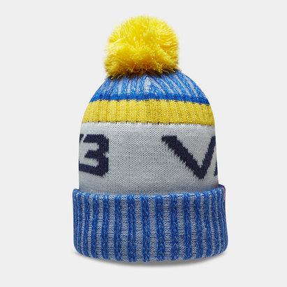 Bonnet à pompon VX3 en bleu et jaune