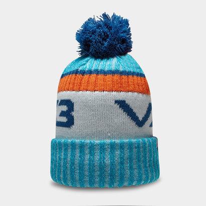 Bonnet à pompon VX3 en bleu et orange