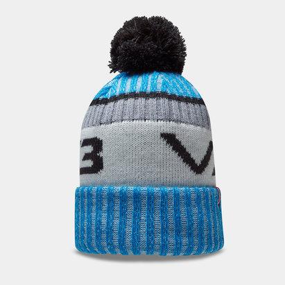 Bonnet à pompon VX3 en bleu et gris