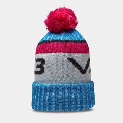 Bonnet à pompon VX3 en bleu et rose