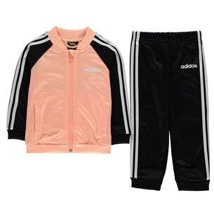 adidas 3 Stripe Polo Tracksuit Baby Girls