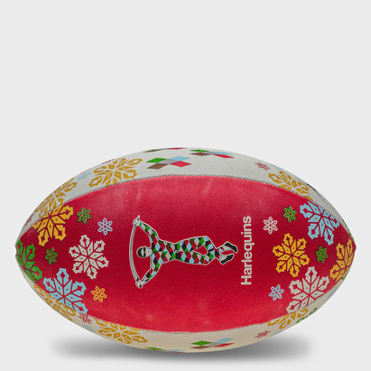 Gilbert Harlequins Christmas Snowflakes Rugby Ball