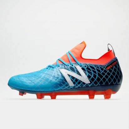New Balance Tekela V1 Pro FG, Crampons bleus et rouges de Football en cuir