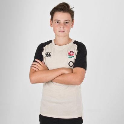 Canterbury Angleterre 2018/19 - Tshirt de Rugby Performance en Coton Jeunes