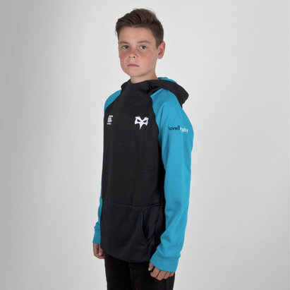 Canterbury Ospreys 2018/19 - Pull de Rugby à Capuche Hybride Zippé Adolescents
