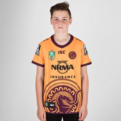 ISC Brisbane Broncos NRL 2018 - Maillot de Rugby Indigène Enfants