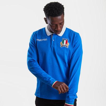Macron Italie 2018/19 - Polo de Rugby Coton M/L Joueurs