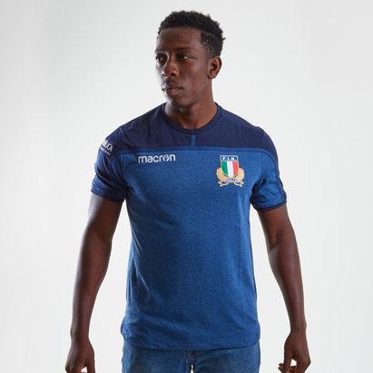 Macron Italie 2018/19 - Tshirt de Rugby Coton Voyage Joueurs