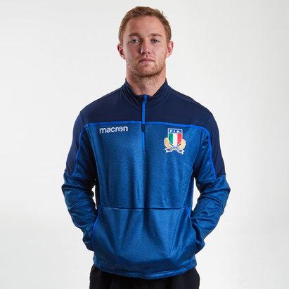 Macron Italie 2018/19 - Haut de Rugby VOyage Joueurs 1/4 Zip