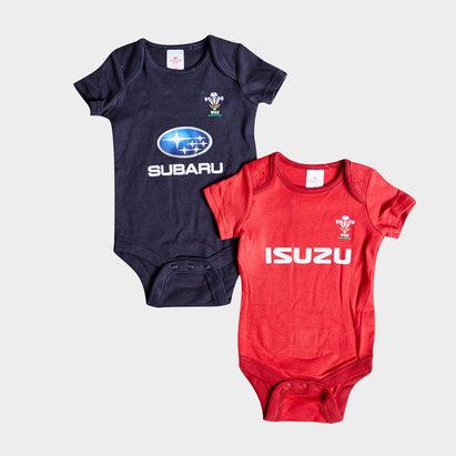 Wales Rugby Pays de Galles WRU 2018/19 - Paquet de 2 Bodies Bébés