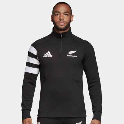 adidas Nlle Zélande All Blacks 2018/19 - Polaire de Rugby Zippée