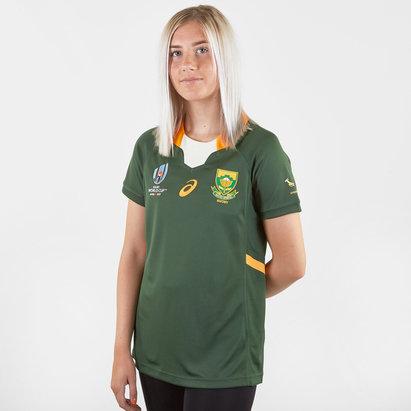Asics Maillot de Rugby Réplique pour femmes, Springboks d'Afrique du Sud domicile, Coupe du monde 2019