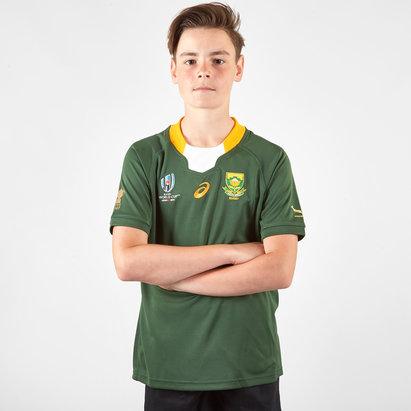 Asics Maillot de Rugby Réplique pour enfants, Springboks d'Afrique du Sud domicile, Coupe du monde 2019