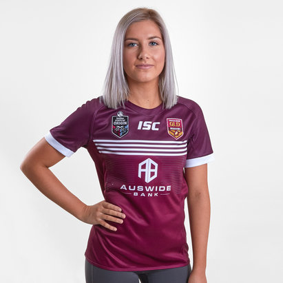 ISC Maillot Ligue de rugby manches courtes pour femmes, Queensland Maroons State of Origin 2019
