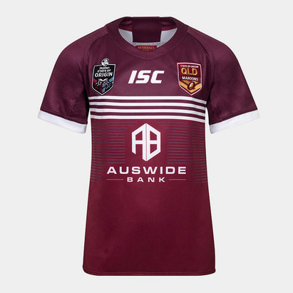 ISC Maillot Ligue de rugby manches courtes pour jeunes hommes, Queensland Maroons State of Origin 2019