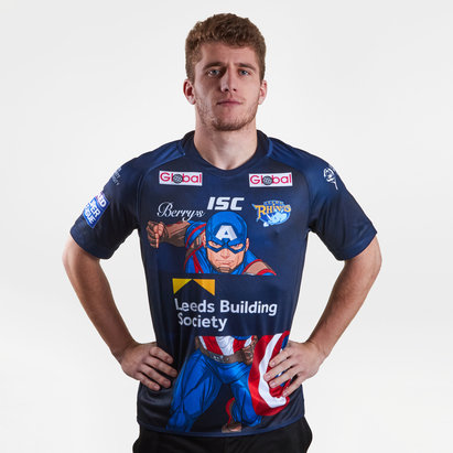 ISC Maillot de Rugby, manches courtes, Leeds Rhinos 2018, Captain America Marvel