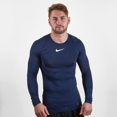Nike Pro Cool, T-shirt de compression bleu marin manches longues