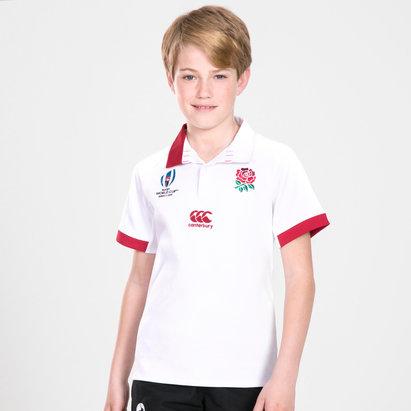 Canterbury Polo Classic manches courtes de Rugby pour enfants, Angleterre domicile coupe du monde RWC 2019