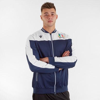 Macron Veste de présentation Rugby avec Zip intégral pour joueurs, Italie 2019/2020