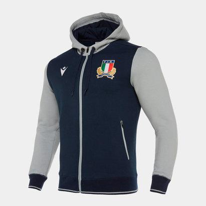 Macron Sweatshirt de rugby à capuche de voyage avec zip intégral, pour joueurs, Italie 2019/2020