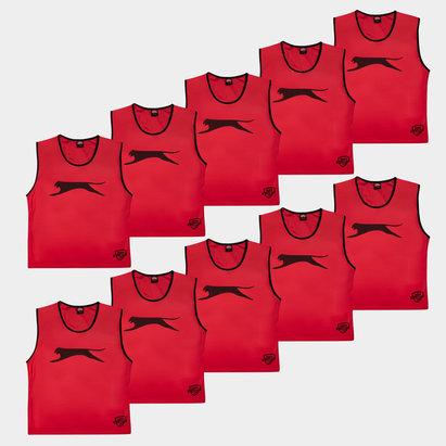 Slazenger Dossards d'entrainement rouge pour adultes, lot de 10
