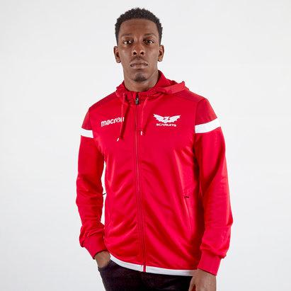 Macron Sweatshirt de voyage pour Rugby rouge avec capuche, Scarlets 2019/2020