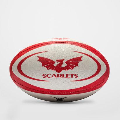Gilbert Scarlets - Ballon de Rugby Réplique Officiel Blanc/Rouge