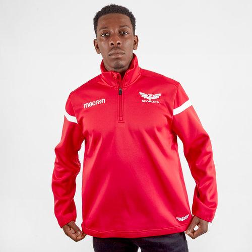 Veste polaire rouge de rugby 1/4 zippé, Scarlets 2019/2020
