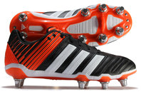adidas Adipower Kakari SG Chaussant Large - Chaussures de Rugby Noir/Blanc/Rouge Solaire